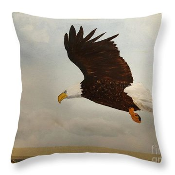 Throw Pillow featuring the painting American Eagle by Donald Paczynski