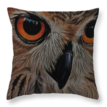 Throw Pillow featuring the drawing American Eagle Owl by Jo Baner
