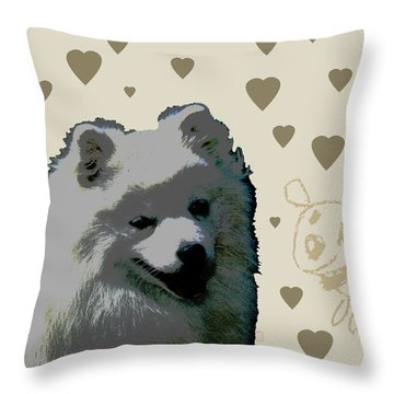 American Eskimo Throw Pillow by One Rude Dawg Orcutt