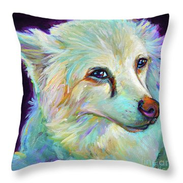 Throw Pillow featuring the painting American Eskimo by Robert Phelps