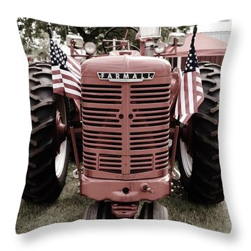 American Farmall Head On Throw Pillow by Meagan  Visser