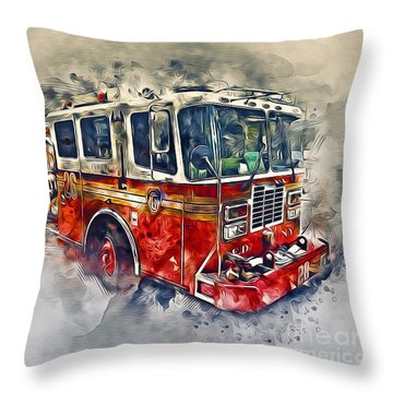 American Fire Truck Throw Pillow