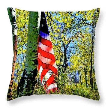 American Flag A Veteran Hunters Homage Throw Pillow
