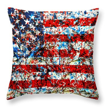 Throw Pillow featuring the painting American Flag Abstract With Trees by Genevieve Esson