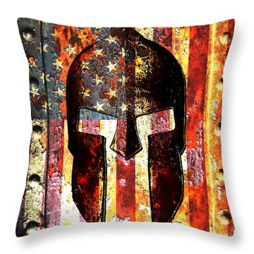 American Flag And Spartan Helmet On Rusted Metal Door - Molon Labe Throw Pillow