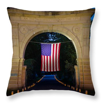American Flag At Cemetery Gates - Mystic Ct Throw Pillow