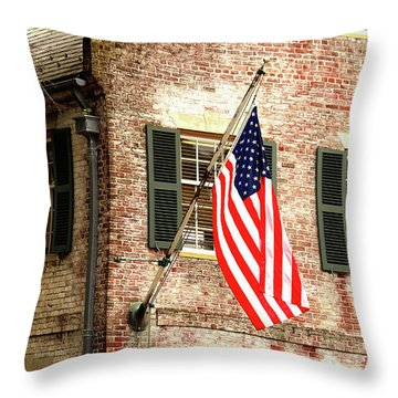 American Flag In Colonial Williamsburg Throw Pillow by Emanuel Tanjala