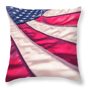 Throw Pillow featuring the photograph American Flag In Red White Stripe,stars And Blue Symbolic Of Pat by Jingjits Photography