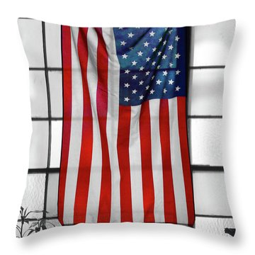 Throw Pillow featuring the photograph American Flag In The Window by Mike McGlothlen