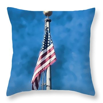 American Flag 'painted' Throw Pillow