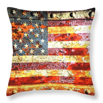 American Flag On Rusted Riveted Metal Door Throw Pillow