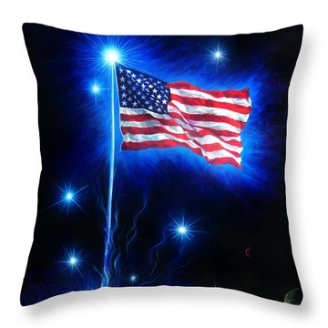 American Flag. The Star Spangled Banner Throw Pillow by Sofia Metal Queen
