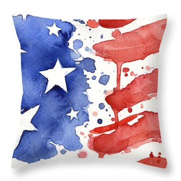 American Flag Watercolor Painting Throw Pillow