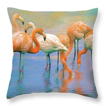 American Flamingos Throw Pillow