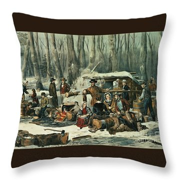 American Forest Scene Throw Pillow by Currier and Ives