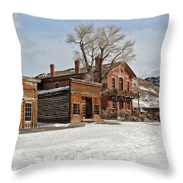 American Ghost Town Throw Pillow