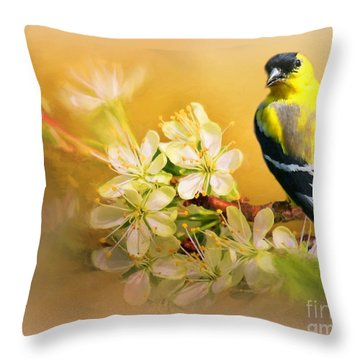 American Goldfinch In The Flowers Throw Pillow by Myrna Bradshaw