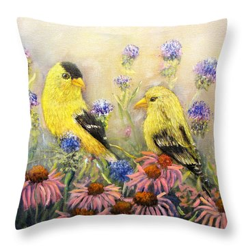 American Goldfinch Pair Throw Pillow