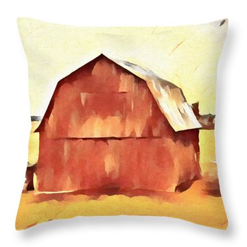Throw Pillow featuring the painting American Gothic Red Barn by Dan Sproul