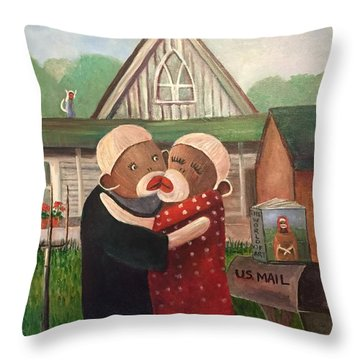 American Gothic The Monkey Lisa And The Holler Throw Pillow