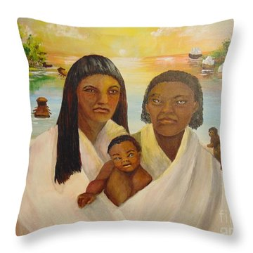 Throw Pillow featuring the painting American Holocaust Survivors by Saundra Johnson