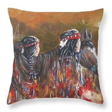 American Indians Family Throw Pillow