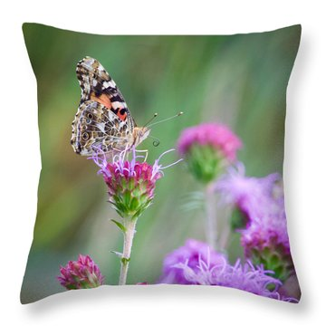 Throw Pillow featuring the photograph American Lady Butterfly by Heidi Hermes