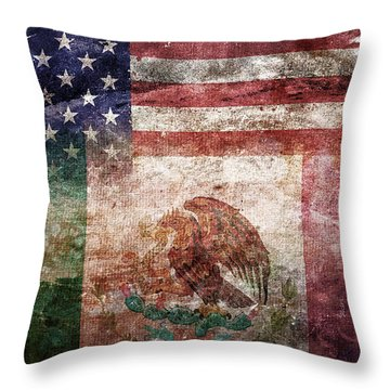 American Mexican Tattered Flag  Throw Pillow