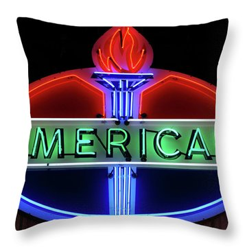 American Oil Sign Throw Pillow