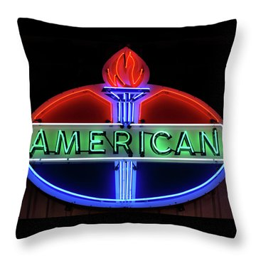Throw Pillow featuring the photograph American Oil Sign by Sandy Keeton