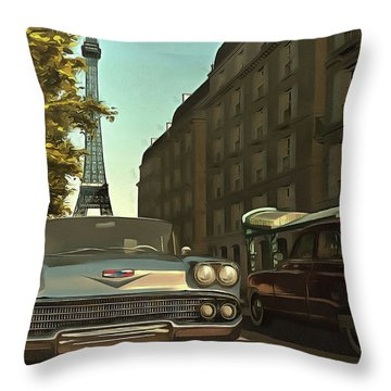American  Oldtimers In Paris Throw Pillow
