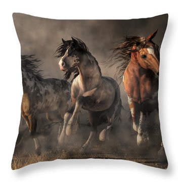 American Paint Horses Throw Pillow