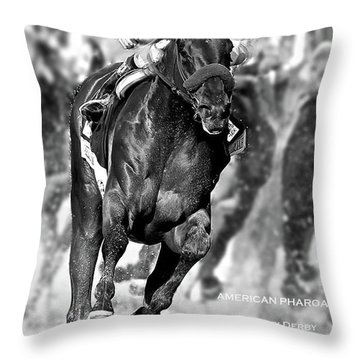 American Pharoah And Victor Espinoza, Turning For Home In The 141st Running Of The Kentucky Derby Throw Pillow
