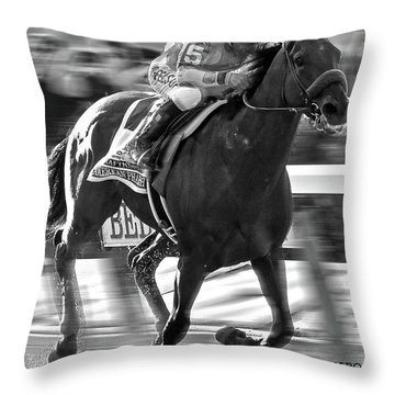 American Pharoah And Victor Espinoza Win The 2015 Belmont Stakes Throw Pillow by Thomas Pollart