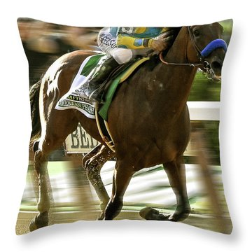 American Pharoah And Victory Espinoza Win The 2015 Belmont Stakes Throw Pillow