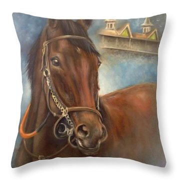 American Pharoah Throw Pillow by Patrice Torrillo