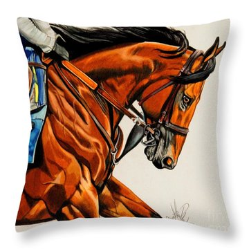 American Pharoah - Triple Crown Winner In White Throw Pillow by Cheryl Poland