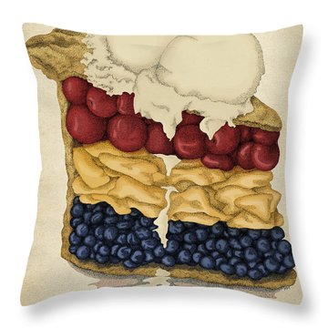 Throw Pillow featuring the drawing American Pie by Meg Shearer
