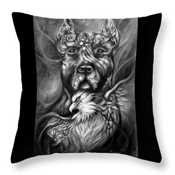 American Pitbull Throw Pillow by Patricia Lintner