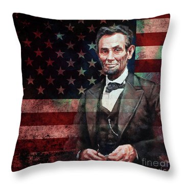 American President Abraham Lincoln 01 Throw Pillow by Gull G
