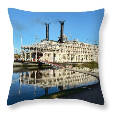 American Queen Steamboat Reflections On The Mississippi River Throw Pillow by David Lawson