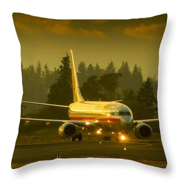 American Ready For Take-off Throw Pillow
