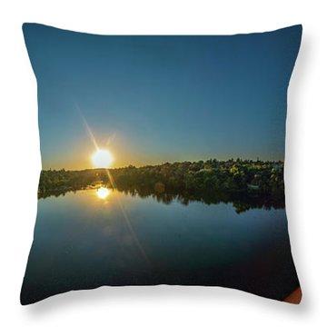 American River At Sunrise - Panorama Throw Pillow