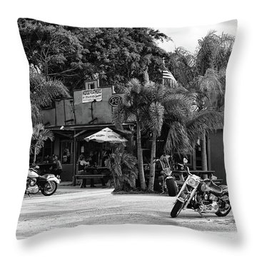 Throw Pillow featuring the photograph American Roadhouse Bw by Laura Fasulo