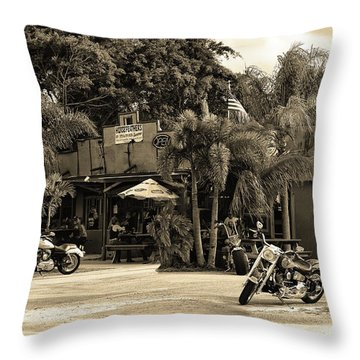 Throw Pillow featuring the photograph American Roadhouse Sepia by Laura Fasulo