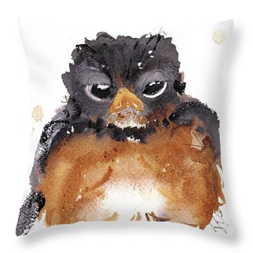 Throw Pillow featuring the painting American Robin by Dawn Derman