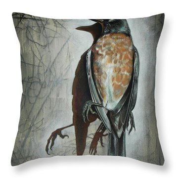Throw Pillow featuring the mixed media American Robin by Sheri Howe