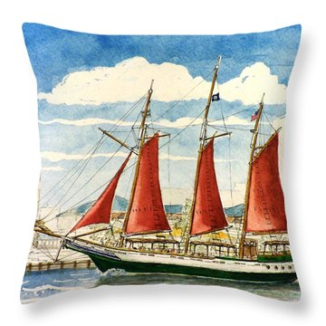American Rover At Waterside Throw Pillow