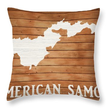 American Samoa Rustic Map On Wood Throw Pillow