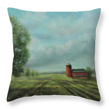 Throw Pillow featuring the painting American Scene Red Barn  by Katalin Luczay
